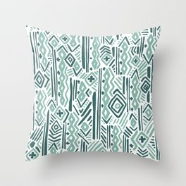 Abstract mauve green teal white tribal pattern Throw Pillow