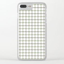 Fern Green & Sludge Grey Tattersall on White Background Clear iPhone Case