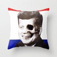 jfk Throw Pillows featuring JFK SKULL PORTRAIT by Joedunnz