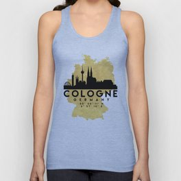 COLOGNE GERMANY SILHOUETTE SKYLINE MAP ART Unisex Tank Top