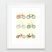 bikes Framed Art Prints featuring Bikes by Samantha Eynon