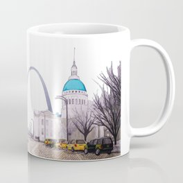 St. Louis Arch with cabs Coffee Mug