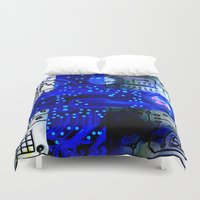 finland Duvet Covers featuring circuit board Finland by seb mcnulty
