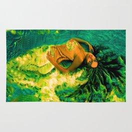 Nude Mermaid white green tail ladykashmir Rug