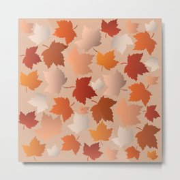 Pretty Autumn Leaves Pattern Metal Print