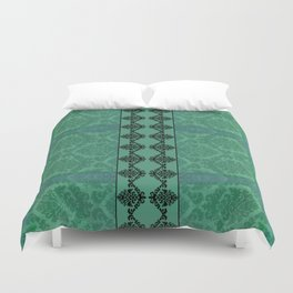 AGED PARCHMENT DAMASK, CUT VELVET in TEAL Duvet Cover