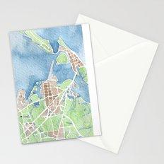 Coastal Map of Galveston TX Stationery Cards