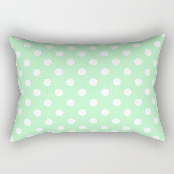 Small Polka Dots - White on Mint Green Rectangular Pillow