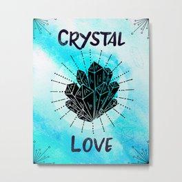 Blue Watercolor Boho Crystal Love Metal Print