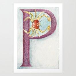 P is for Pom Pom Crab Art Print