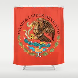 Mexican seal on Adobe red Shower Curtain