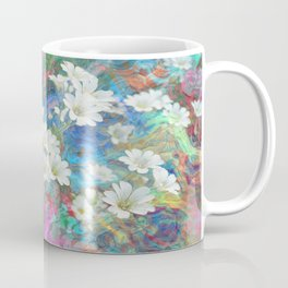 White Flowers Among Flowing Colors By Annie Zeno  Coffee Mug