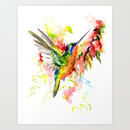 Tropical Hummingbird Art Print