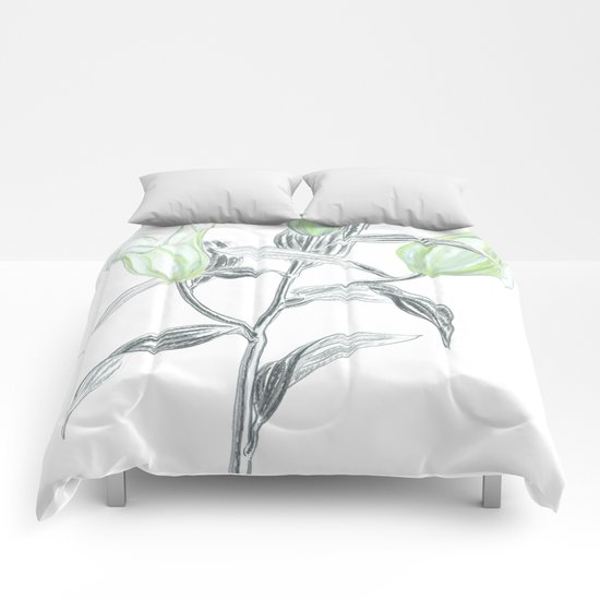 Lily 04 Botanical Flower * White Casablanca Lily Buds Comforters
