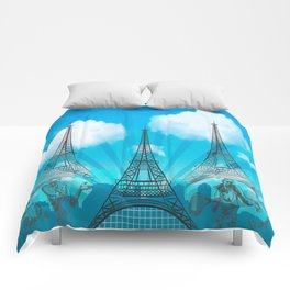 Tri Eiffel Tower with Tennis Figures Comforters