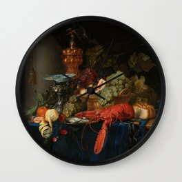 Vintage Still Life Painting with Lobster Wall Clock