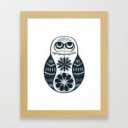 Flower Owl Matryoshka - Steel Framed Art Print