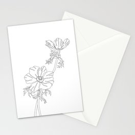 Botanical floral illustration line drawing - Joan Stationery Cards