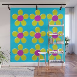 Spring Daisies Jelly Art - Yellow Pink Turquoise Wall Mural