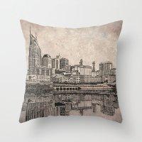 nashville Throw Pillows featuring Nashville Skyline by Janet L King