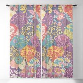 Japanese Wave Seigaiha Seamless Patterns Symbols Sheer Curtain