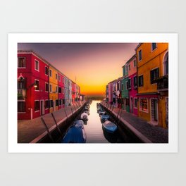 Venice Italy Boats Sunset Photography Art Print