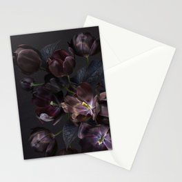 Black tulips on dark background Stationery Cards