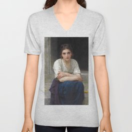 """William-Adolphe Bouguereau """"Rêverie sur le Seuil (Daydream on the Threshold)"""" Unisex V-Neck"""