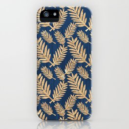 Modern navy blue faux gold glitter tropical floral iPhone Case