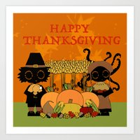 thanksgiving Art Prints featuring Thanksgiving by BLOOP