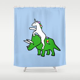 Unicorn Riding Triceratops Shower Curtain