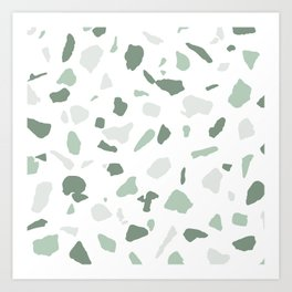 abstract terrazzo stone pattern sage green white Art Print