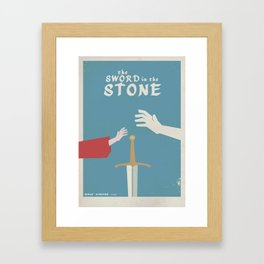 The sword in the stone, minimalist movie poster, animated film, King Arthur, Merlin, retro playbill Framed Art Print