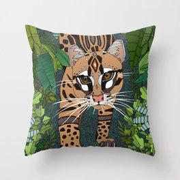 ocelot jungle nightshade Throw Pillow