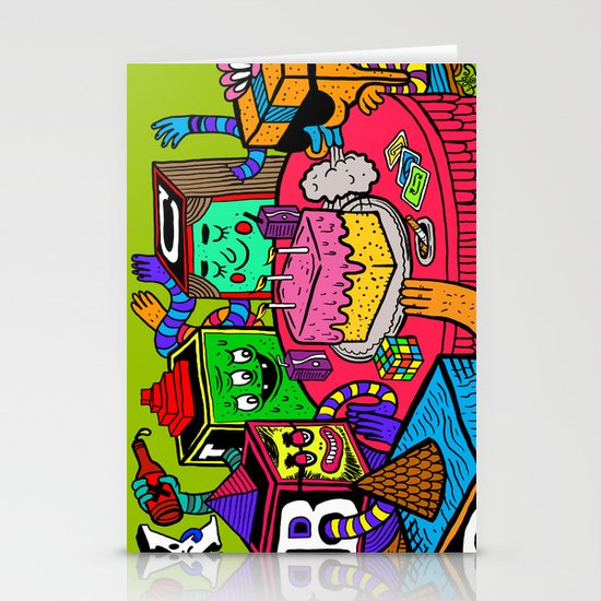 """Block Party"" by Steven Fiche Stationery Cards"