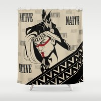 native american Shower Curtains featuring Native by memo_alatouly