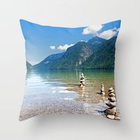 watchmen Throw Pillows featuring Watchmen of the Lake by Doug Burke