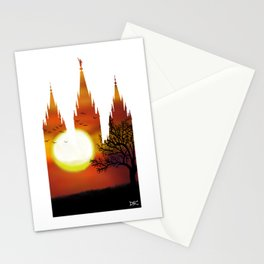 Salt Lake Temple Sunset Tree Silhouette Stationery Cards