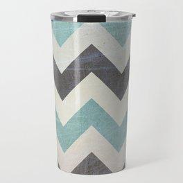 Chevron Pattern On Metal Texture Travel Mug