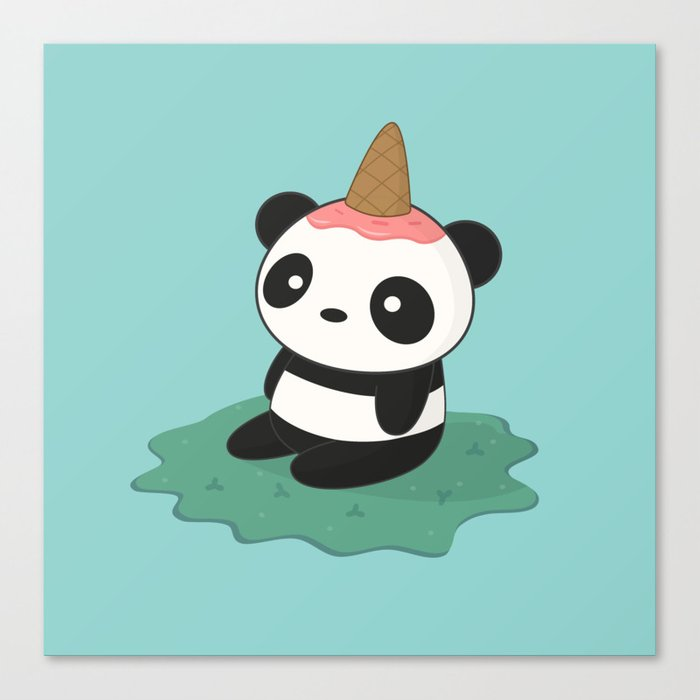 Kawaii Cute Panda Ice Cream Canvas Print