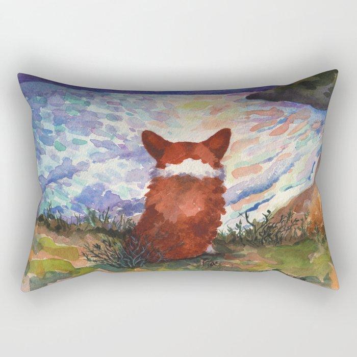 Corgi - sunset adorer Rectangular Pillow