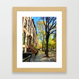 Cobble Hill Brooklyn New York in the Fall, Brownstones Framed Art Print