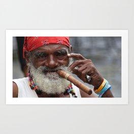 Cuban Streetlife - Man with Cigar Art Print