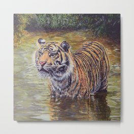 Sumatran Tiger in the Jungle Metal Print