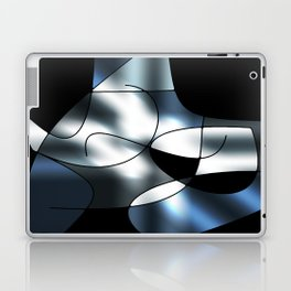 ABSTRACT CURVES #1 (Black, Grays & White) Laptop & iPad Skin