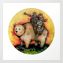 Bear-Mounted Raccoon Patrol Art Print
