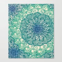 duvet Canvas Prints featuring Emerald Doodle by micklyn