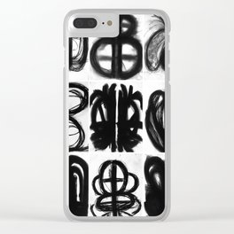 Abstract Charcoal Drawings Clear iPhone Case