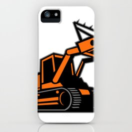 Tracked Mulching Tractor Icon Retro iPhone Case