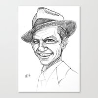 frank sinatra Canvas Prints featuring Sinatra by Mark T. Zeilman